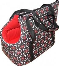 Torba czerwono-czarne kwiatki transporter dla psa lub kota nosidełko