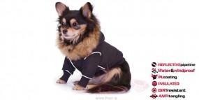 Ubranko dla psa na zimę Eskimo Coat - Czarny z odblaskową taśmą
