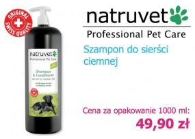 Szampon z odżywką 2w1 Natruvet 1000 ml do ciemnej sierści